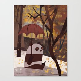 Panda Is Ready For Autumn Canvas Print