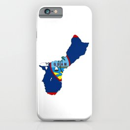 Guam Map with Guamanian Chamorro Flag iPhone Case