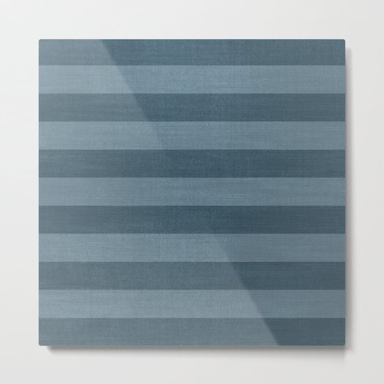 Blue Indigo Denim Stripes Metal Print