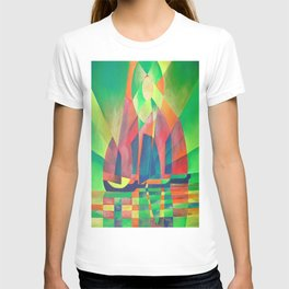 Sea of Green With Cubist Abstract Junks T-shirt