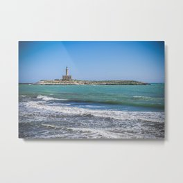 Lighthouse on the sea at Vieste, Puglia, Italy Metal Print