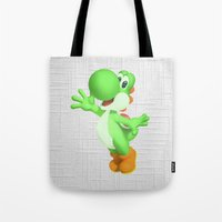 yoshi Tote Bags featuring Yoshi by Jessica Wray