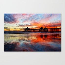 Huntington Beach Sunset    11/8/13 Canvas Print