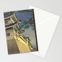 Asano Takeji Japanese Woodblock Print Vintage Mid Century Art Medieval Castle Rainbow Stationery Cards
