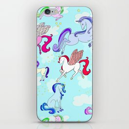Unicorn repeating pattern colorful on blue iPhone Skin