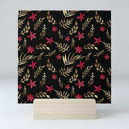 Golden palm tropical glitter leaves and red flowers on black Mini Art Print
