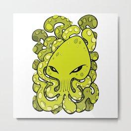 Octopus Squid Kraken Cthulhu Sea Creature - Lime Punch Metal Print