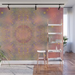 Heart Chakra Activation - Gilded Pink and Blue Wall Mural