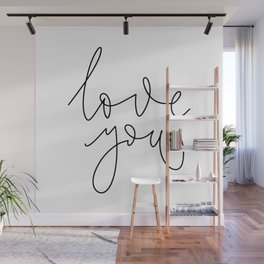 Minimalist lettering love you in English on white background Wall Mural