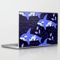 killer whale Laptop & iPad Skins featuring Killer whale pattern by luizaPatterns