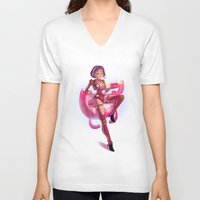 pin up V-neck T-shirts featuring Pin up by paul drouin