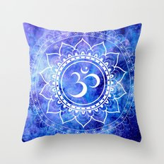 Om Mandala Blue Lavender Galaxy Throw Pillow