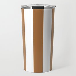 Metallic bronze - solid color - white vertical lines pattern Travel Mug