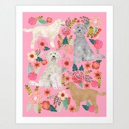 Golden Doodle dog breed must have dog art pet portrait animal fur baby illustration florals dog gift Art Print