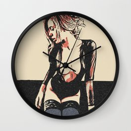 Sensual Red head, sweet girl in erotic lingerie, kinky posing non nude, sensual erotic Wall Clock