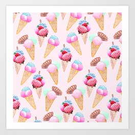 Ice cream Pattern summer cool watercolor Art Print