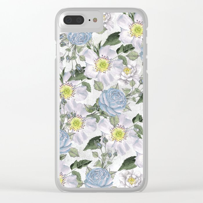 Vintage Roses Blue Clear iPhone Case
