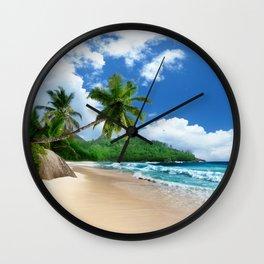 Tropical Landscape at Mahé  Island, Seychelles Wall Clock