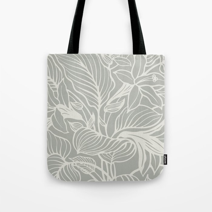 Gray Grey Floral Tote Bag