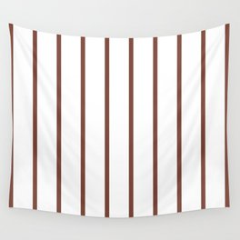 Vertical Lines (Maroon & White Pattern) Wall Tapestry