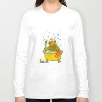 bath Long Sleeve T-shirts featuring Bird Bath! by HFDee