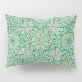 Aqua Golden Mandala Pillow Sham