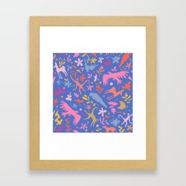 Frid Menagerie in Azul Framed Art Print