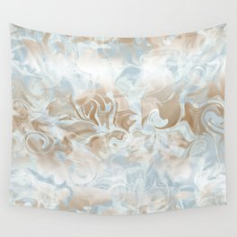 Watercolour in Blue Gold Wall Tapestry