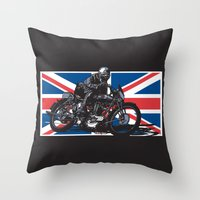 cafe racer Throw Pillows featuring NORTON TT RACER | DARK by Ernie Young