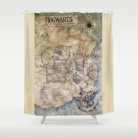 hogwarts Shower Curtains featuring Hogwarts Map by Sarah Ridings