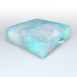 Irridescent Aqua Marble Outdoor Floor Cushion