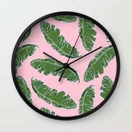 Nouveau Banana Leaf in Crabby Pink Wall Clock
