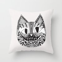 cheshire cat Throw Pillows featuring  CHESHIRE CAT by Vasare Nar