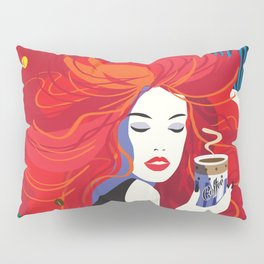 """""""Beautiful Fashion Woman and Coffee Cup"""" POP-ART poster, Retro, Design Pillow Sham"""