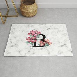 Letter 'B' Begonia Flower Monogram Typography Rug
