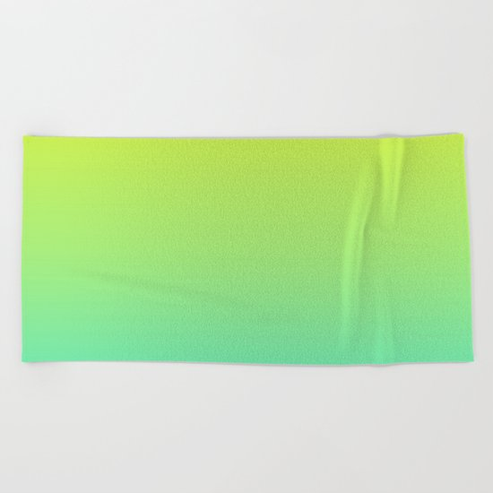 Ombre gradient illustration yellow blue green colors Beach Towel