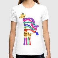 murakami T-shirts featuring Happy Christmas Giraffe  by Marcy Murakami