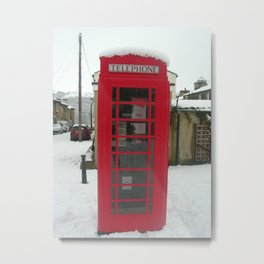 Red Phone Box in the snow - Saltaire Metal Print