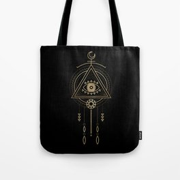 Mandala Tribal Eye Copper Bronze Gold Tote Bag