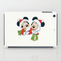 minnie mouse iPad Cases featuring Christmas Mickey Mouse and Minnie Mouse by Yuliya L
