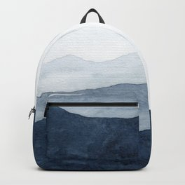 Indigo Abstract Watercolor Mountains Backpack