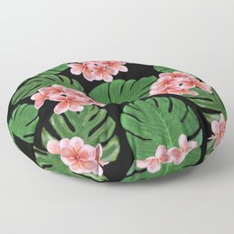 Tropical Floral Print Black Floor Pillow
