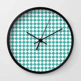 Small Diamonds - White and Verdigris Wall Clock