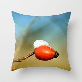 little rosehip with snowcap Throw Pillow