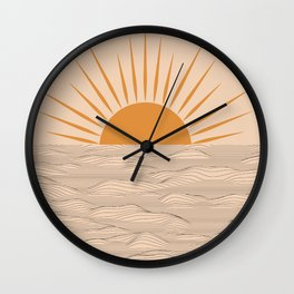 Modern abstract aesthetic background with sun and sea waves, sunset and sunrise illustration Wall Clock