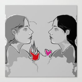The Girl With Two Hearts Canvas Print