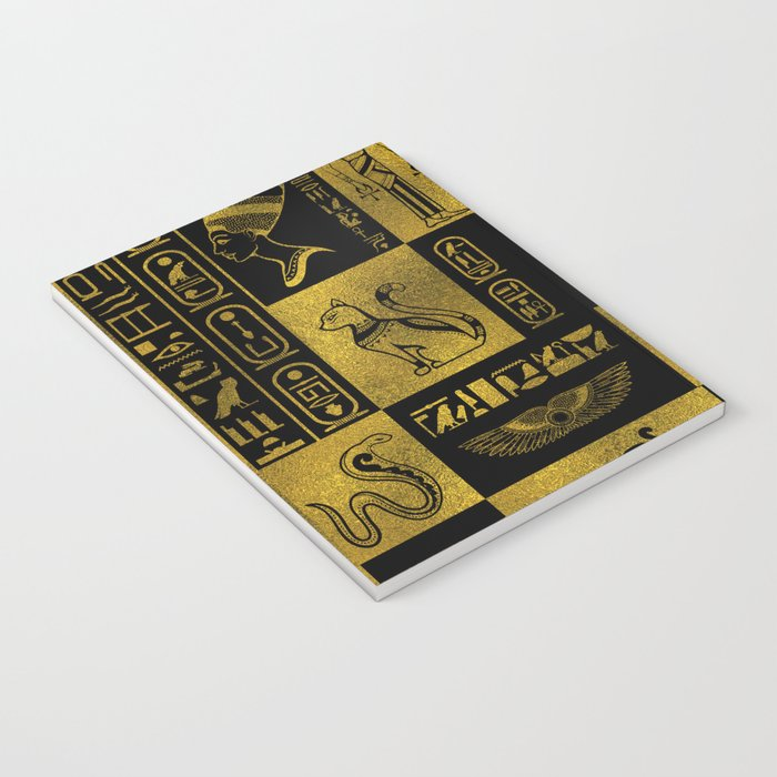 Egyptian  Gold hieroglyphs and symbols collage Notebook