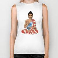 obama Biker Tanks featuring Buddha Obama by Jack Coltman