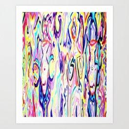 Colorful Ink Alien Skull Painting Art Print