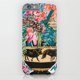 Tropical Banksia Bouquet after Matisse in Greek Boar Urn on Pale Painterly Blue iPhone Case